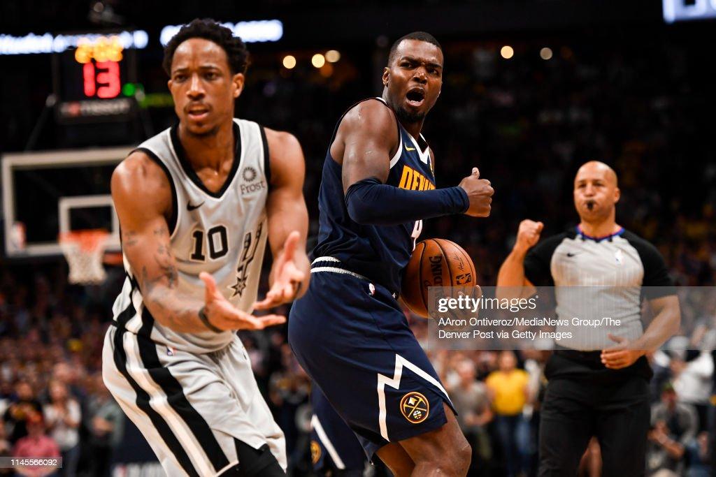 DENVER NUGGETS VS SAN ANTONIO SPURS, NBA PLAYOFFS : News Photo