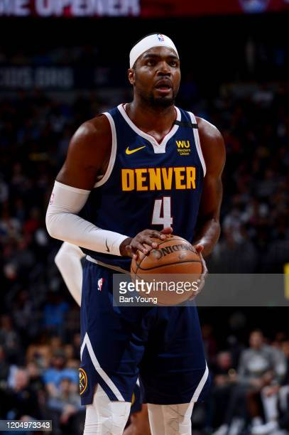 Paul Millsap of the Denver Nuggets shoots a free throw during a game against the Golden State Warriors on March 3 2020 at the Pepsi Center in Denver...