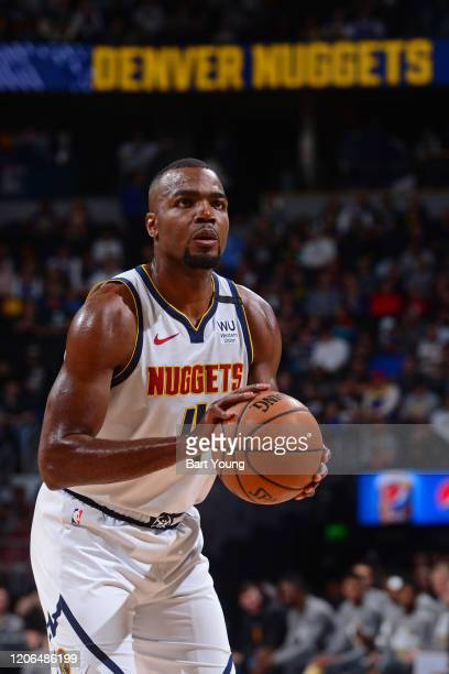 Paul Millsap of the Denver Nuggets shoots a free throw during the game against the Milwaukee Bucks on March 09 2020 at the Pepsi Center in Denver...