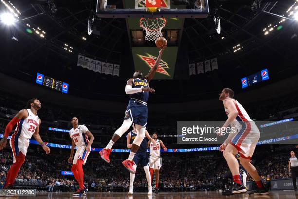 Paul Millsap of the Denver Nuggets shoots the ball against the Detroit Pistons on February 25 2020 at the Pepsi Center in Denver Colorado NOTE TO...