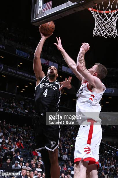 Paul Millsap of the Denver Nuggets shoots the ball during the game against the Toronto Raptors on January 8 2018 at Barclays Center in Brooklyn New...