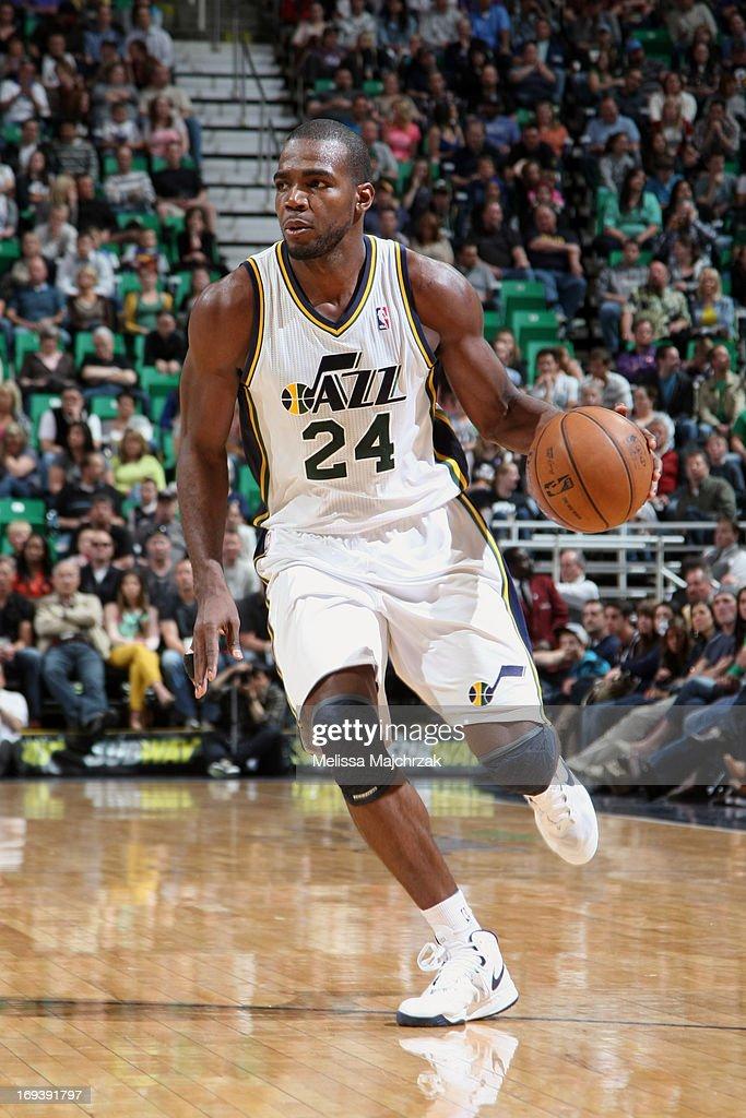 Paul Millsap #24 of the Utah Jazz drives against the New Orleans Hornets at Energy Solutions Arena on April 5, 2013 in Salt Lake City, Utah.