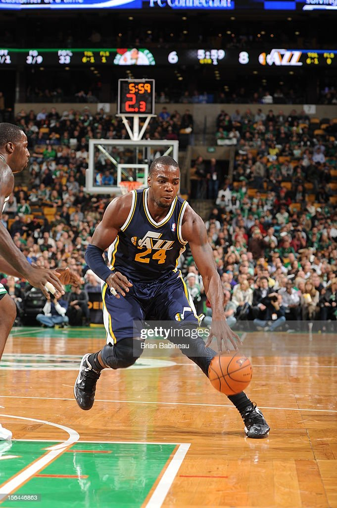 Paul Millsap #24 of the Utah Jazz drives to the basket against the Boston Celtics on November 14, 2012 at the TD Garden in Boston, Massachusetts.