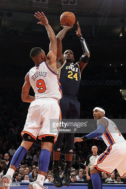 Paul Millsap of the Utah Jazz in action against Jared Jeffries of the New York Knicks on February 6 2012 at Madison Square Garden in New York City...