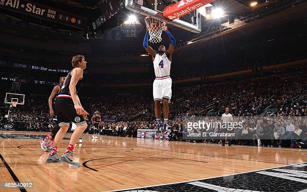 Paul Millsap playing for the East Coast allstars goes up for the dunk during the 2015 NBA AllStar Game at Madison Square Garden on February 15 2015...
