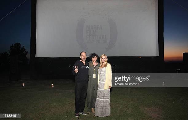 Paul Mitchell CEO John Paul DeJoria, Marfa Film Festival founder Robin Lambaria and Eloise DeJoria attend the 2013 Marfa Film Festival in Marfa,...