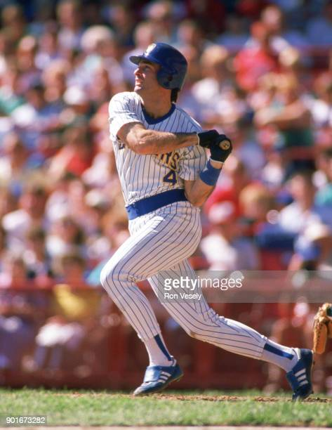 Paul Molitor of the Milwaukee Brewers bats during an MLB game at County Stadium in Milwaukee Wisconsin during the 1987 season