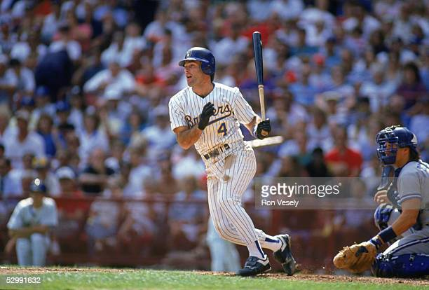 Paul Molitor of the Milwaukee Brewers bats during an MLB game at Milwaukee County Stadium in Milkwaukee Wisconsin Molitor played for the Milwaukee...