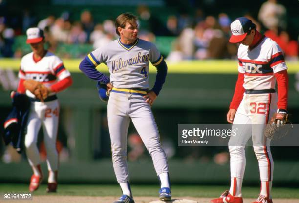 Paul Molitor of the Milwaukee Brewers looks on during an MLB game versus the Chicago White Sox at Comiskey Park in Chicago Illinois during the 1986...