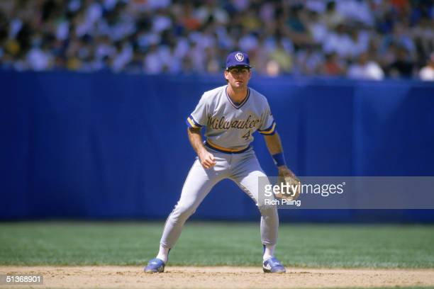 Paul Molitor of the Milwaukee Brewers prepares for a play during a game. Paul Molitor played for the Brewers from 1978-1992.