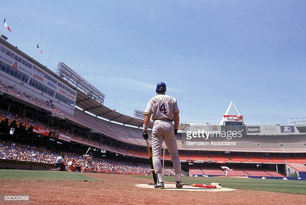 Paul Molitor of the Milwaukee Brewers stands on the on deck circle as he watches teammate Robin Yount bat during a game against the California Angels...