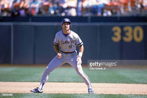 Paul Molitor of the Milwaukee Brewers waits to run the baseline during the 1989 season game against the Oakland Athletics at Oakland-Alameda County...