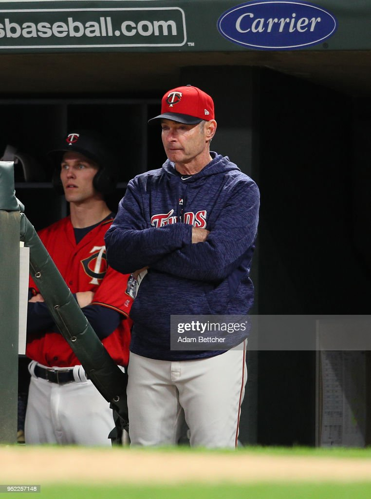 Paul Molitor #4 of the Minnesota Twins in the dugout against the Cincinnati Reds in the fourth inning at Target Field on April 27, 2018 in Minneapolis, Minnesota.
