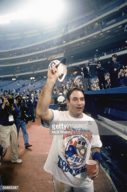 Paul Molitor of the Toronto Blue Jays celebrates after winn ing game six of the 1993 World Series against the Philadelphia Phillies at the Skydome on...