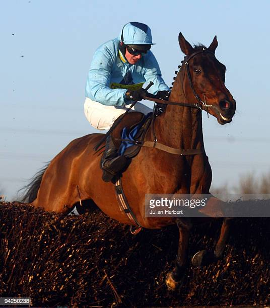 Paul Moloney and Deep Purple clear the last fence before landing The totesportcom Peterborough Steeple Chase Race run at Huntingdon Racecourse on...