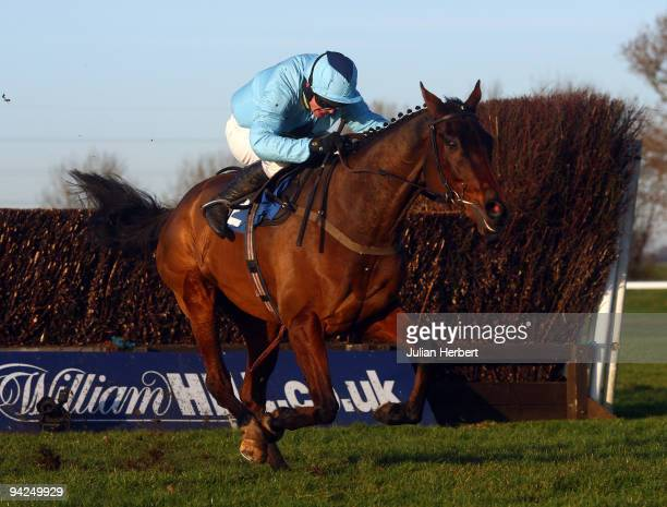 Paul Moloney and Deep Purple pull away from the last fence before landing The totesportcom Peterborough Steeple Chase Race run at Huntingdon...
