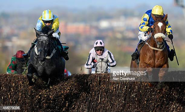Paul Moloney riding Big Water clear the last to win The Download Free App @ bookmakerscouk Novices' Limited Handicap Steeple Chase at Carlisle...