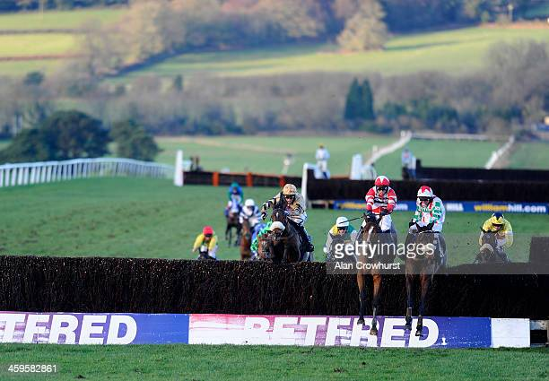 Paul Moloney riding Mountainous clear the last to win The Coral Welsh Grand National from Hawkes Point at Chepstow racecourse on December 28 2013 in...