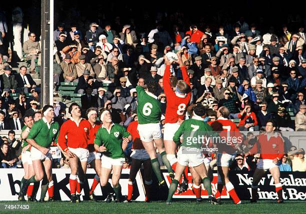 Paul Moriarty of Wales wins a lineout ball during the 1987 Rugby World Cup Pool 2 match between Ireland and Wales at Athletic Park on May 25 1987 in...