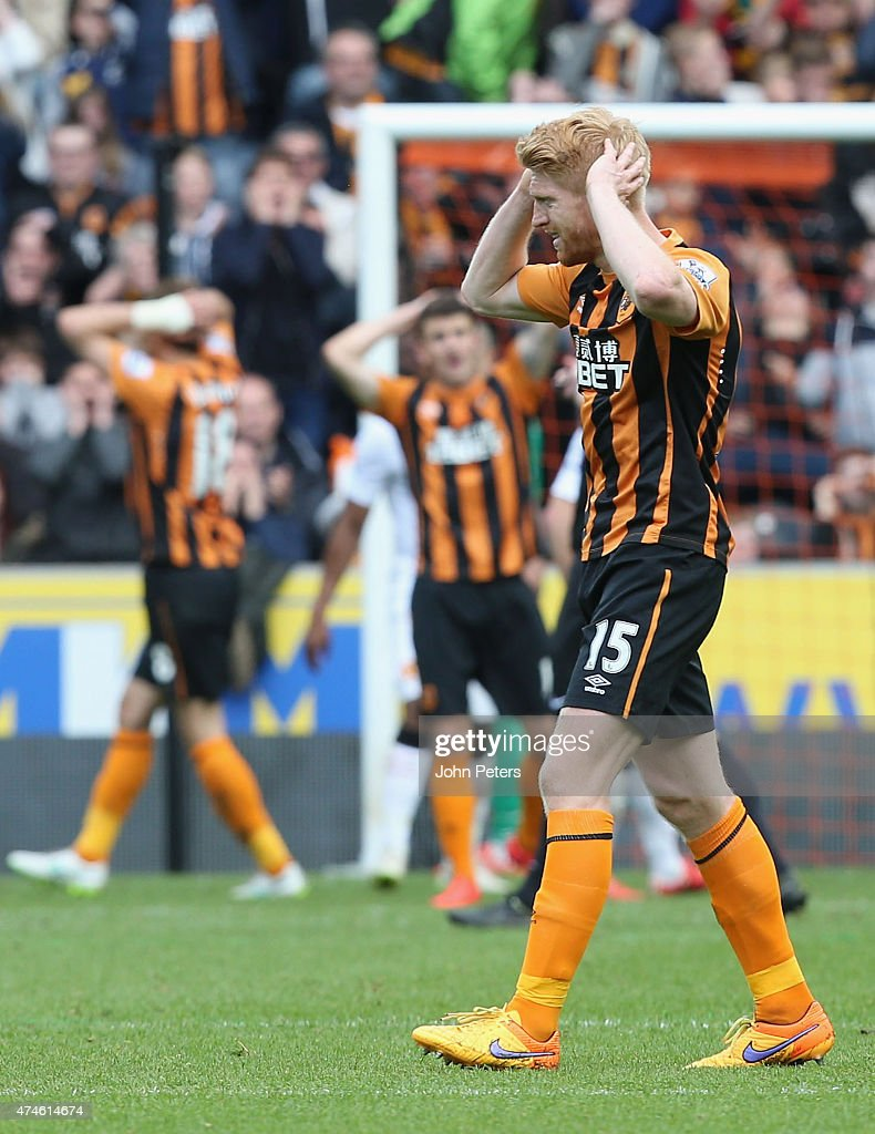 Paul MShane of Hull City shows his disappointment at a missed chance during the Barclays Premier League match between Hull City and Manchester United at KC Stadium on May 24, 2015 in Hull, England.