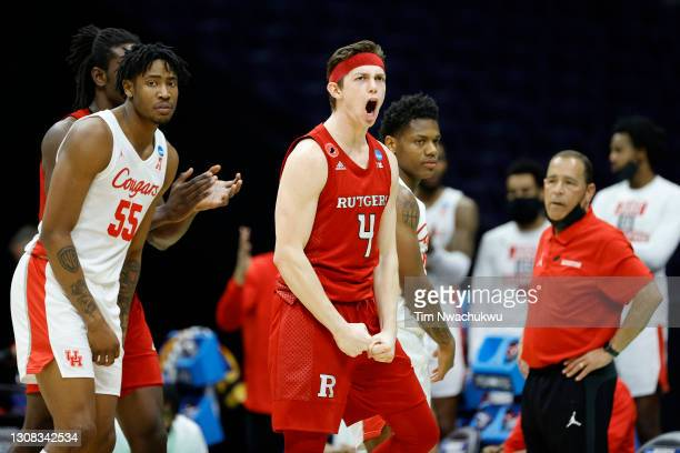 Paul Mulcahy of the Rutgers Scarlet Knights reacts during the second half against the Houston Cougars in the second round game of the 2021 NCAA Men's...