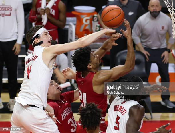 Paul Mulcahy of the Rutgers Scarlet Knights strips the ball from Jerome Hunter of the Indiana Hoosiers during the first half at Rutgers Athletic...