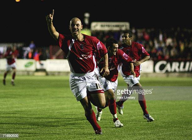 Paul Mullin of Accrington Stanley celebrates after scoring the opening goal against Nottingham Forest during the Carling Cup First Round match...