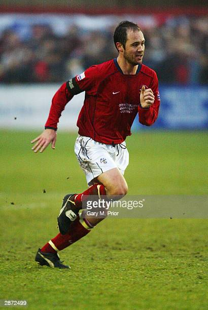 Paul Mullin of Accrington Stanley in action during the FA Cup third round match between Accrington Stanley and Colchester United on January 3 2004 at...