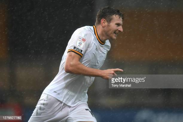 Paul Mullin of Cambridge United celebrates scoring their first goal during of the Sky Bet League Two match between Cambridge United and Newport...