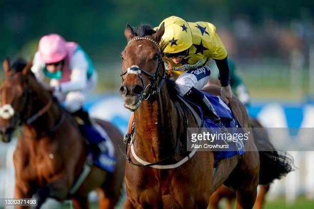 Paul Mulrennan riding Euchen Glen win The Coral Brigadier Gerard Stakes at Sandown Park on May 27, 2021 in Esher, England. Due to the Coronavirus...