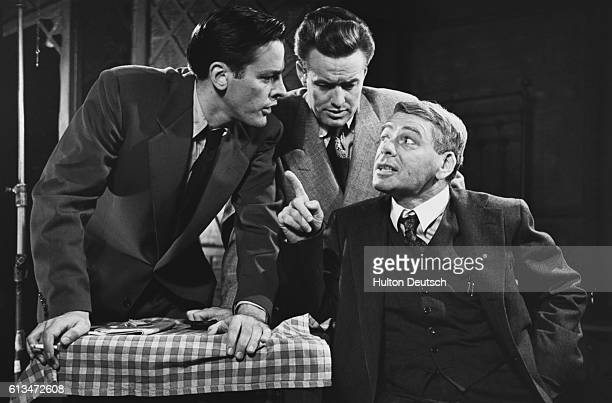 Paul Mum talks to his two sons in a scene from the Phoenix Theatre's 1949 production of Arthur Miller's play Death of a Salesman