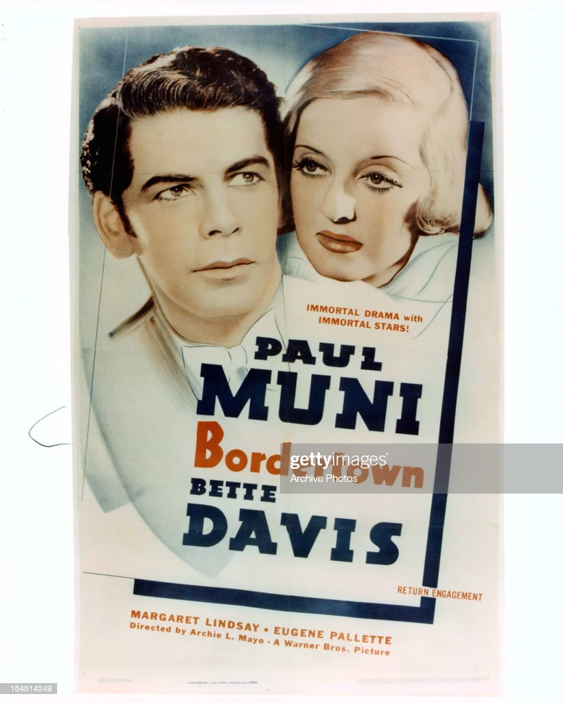 Paul Muni And Bette Davis In Movie Art For The Film Bordertown