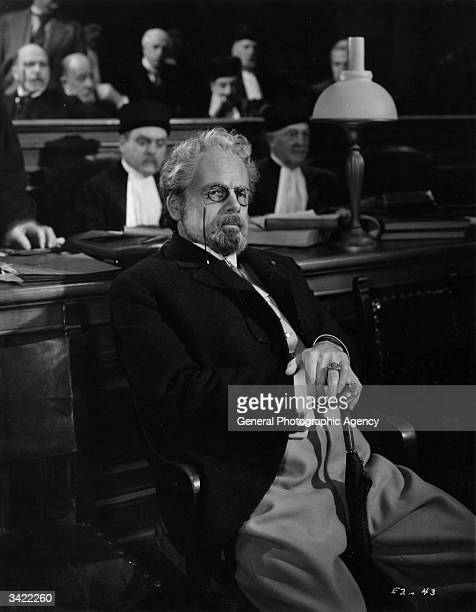 Paul Muni plays Zola in the film 'The Life Of Emile Zola' the story of the French writer who intervened in the famous case of Alfred Dreyfus a French...