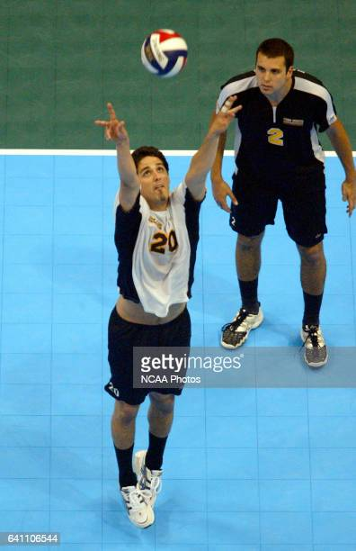 Paul Munoz of Long Beach State University sets the ball against BYU during the Division I Men's Volleyball Championship held at the Stan Sheriff...