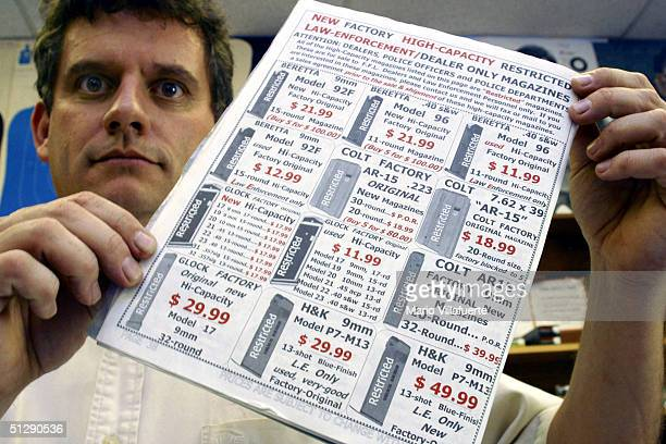Paul Murray manager of Shooters USA target range displays an advertisement for highcapacity magazines on September 11 2004 in Bossier City Louisiana...
