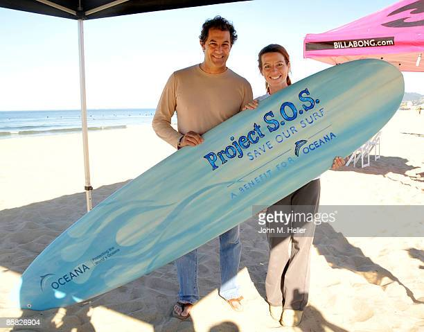 Paul Naude and Tanna Frederick attend the 2009 Project Save Our Surf 1st Annual Surfathon and Oceana Awards at Ocean Park Beach on April 5 2009 in...