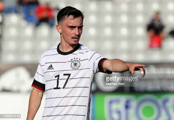 Paul Nebel of Germany reacts during the international friendly match between U20 Czech Republic and U20 Germany at Chance Arena on September 2, 2021...
