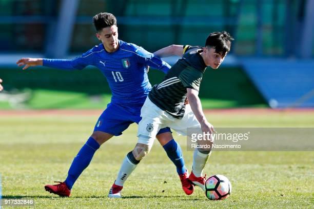 Paul Nebel of Germany U16 chalendges Andrea Capone of Italy U16 during UEFA Development Tournament match between U16 Italy and U16 Germany at VRSA...