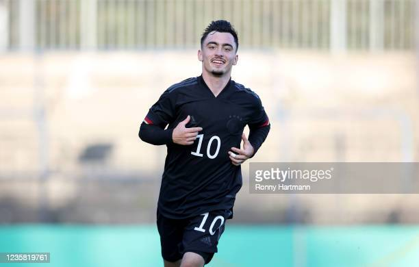 Paul Nebel of U20 Germany celebrates after scoring his team's first goal during the International Friendly match between Germany U20 and Romania U20...