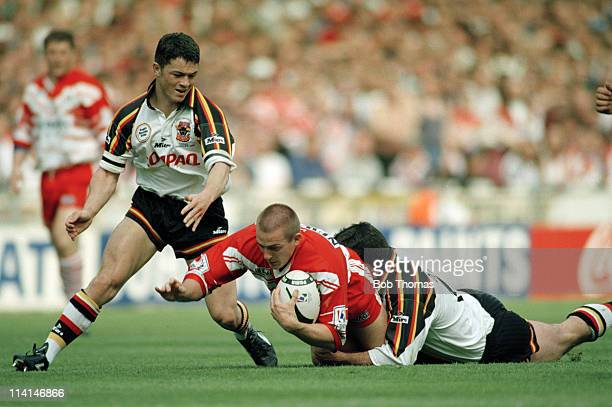 Paul Newlove of St Helens in action against Bradford during the Silk Cut Rugby League Challenge Cup Final at Wembley Stadium London on 27th April...