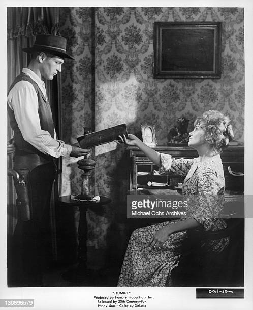 Paul Newman And Diane Cilento in a scene from the film 'Hombre' 1967