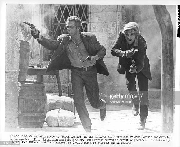 Paul Newman and Robert Redford have shoot out in a scene from the film 'Butch Cassidy And The Sundance Kid' 1969