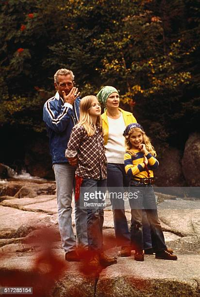 Paul Newman and wife, Joanne Woodward, shown with their daughters Melissa and Clea in area where they filmed a television special.