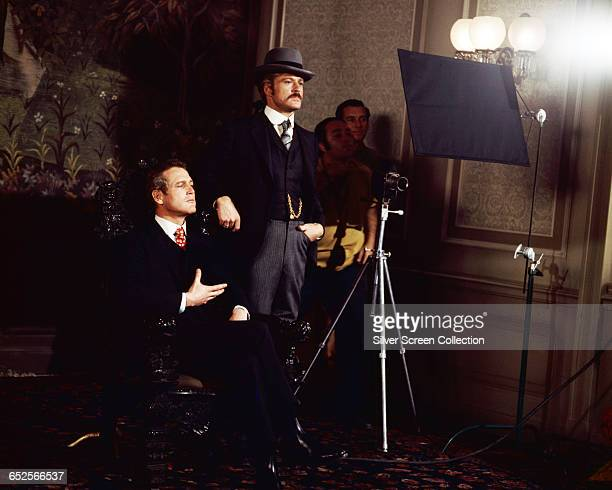 Paul Newman as Butch Cassidy and Robert Redford as the Sundance Kid posing for a photograph on the set of the western film 'Butch Cassidy and the...