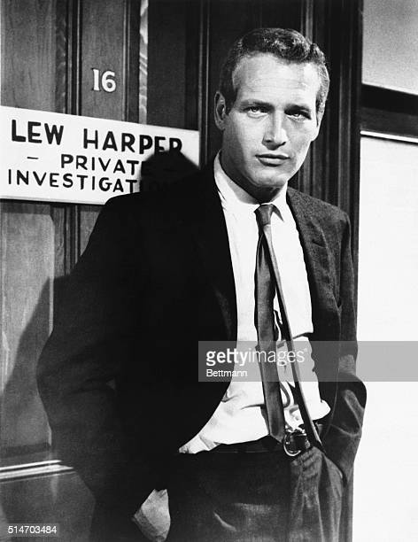 "Paul Newman, close up, as Lew Harper in a scene from the movie ""Harper."" 1966"