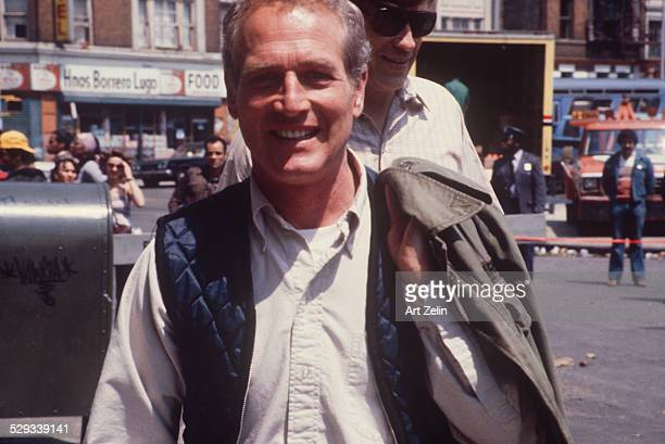 Paul Newman closeup on a movie set on the street circa 1970 New York