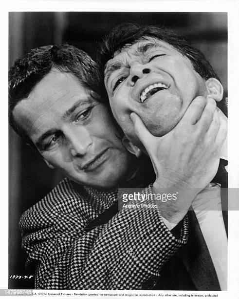 Paul Newman engages in a death struggle with East German security agent Wolfgang Kieling in a scene from the film 'Torn Curtain' 1966