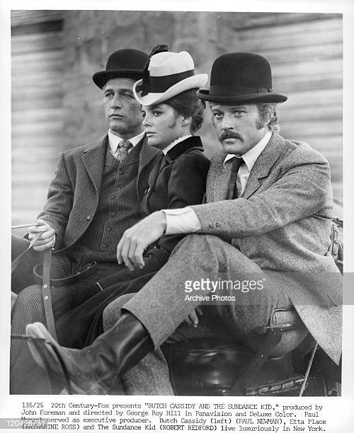 Paul Newman Katharine Ross and Robert Redford riding together in a scene from the film 'Butch Cassidy And The Sundance Kid' 1969