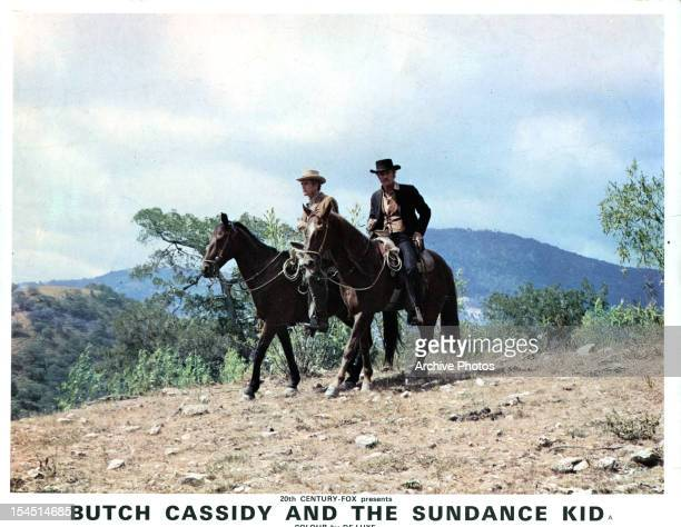 Paul Newman rides horses alongside Robert Redford in a scene from the film 'Butch Cassidy And The Sundance Kid' 1969