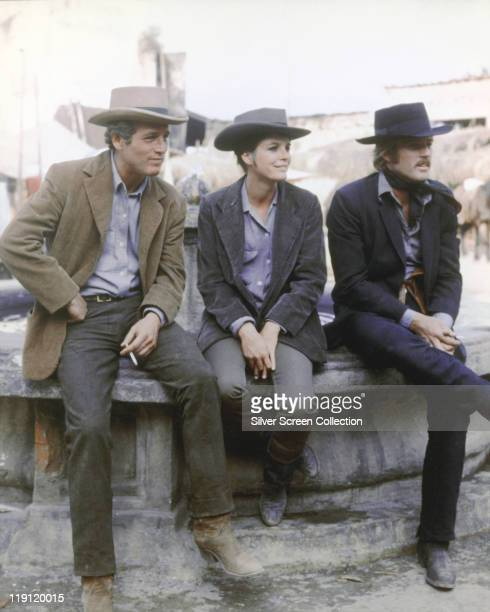 Paul Newman Robert Redford and Katharine Ross in costume in a publicity still issued for the film 'Butch Cassidy and the Sundance Kid' USA 1969 The...